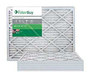FilterBuy 20x24x1 MERV 8 Pleated AC Furnace Air Filter, (Pack of 6 Filters), 20x24x1 – Silver