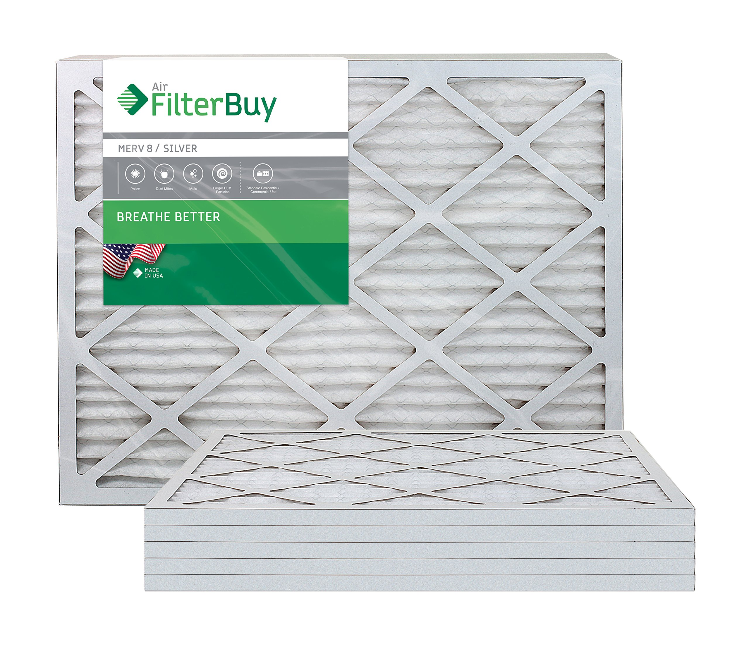 AFB Silver MERV 8 24x36x1 Pleated AC Furnace Air Filter. Pack of 6 Filters. 100% produced in the USA.