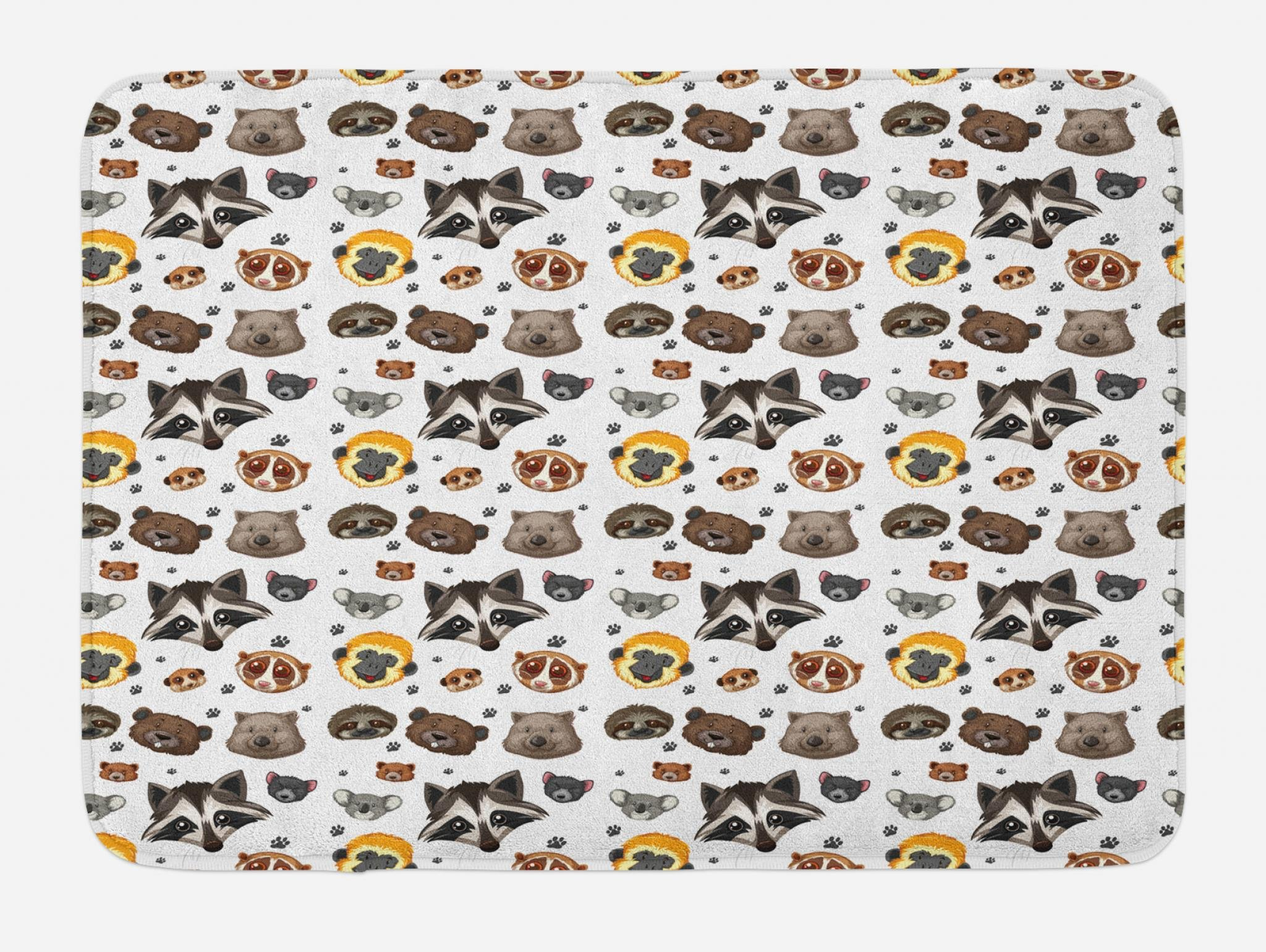 Lunarable Raccoon Bath Mat, Animal Heads Cute Monkey Bear Mouse Hamster Paws Pet Wilderness Exotic Forest Theme, Plush Bathroom Decor Mat with Non Slip Backing, 29.5 W X 17.5 W Inches, Multicolor