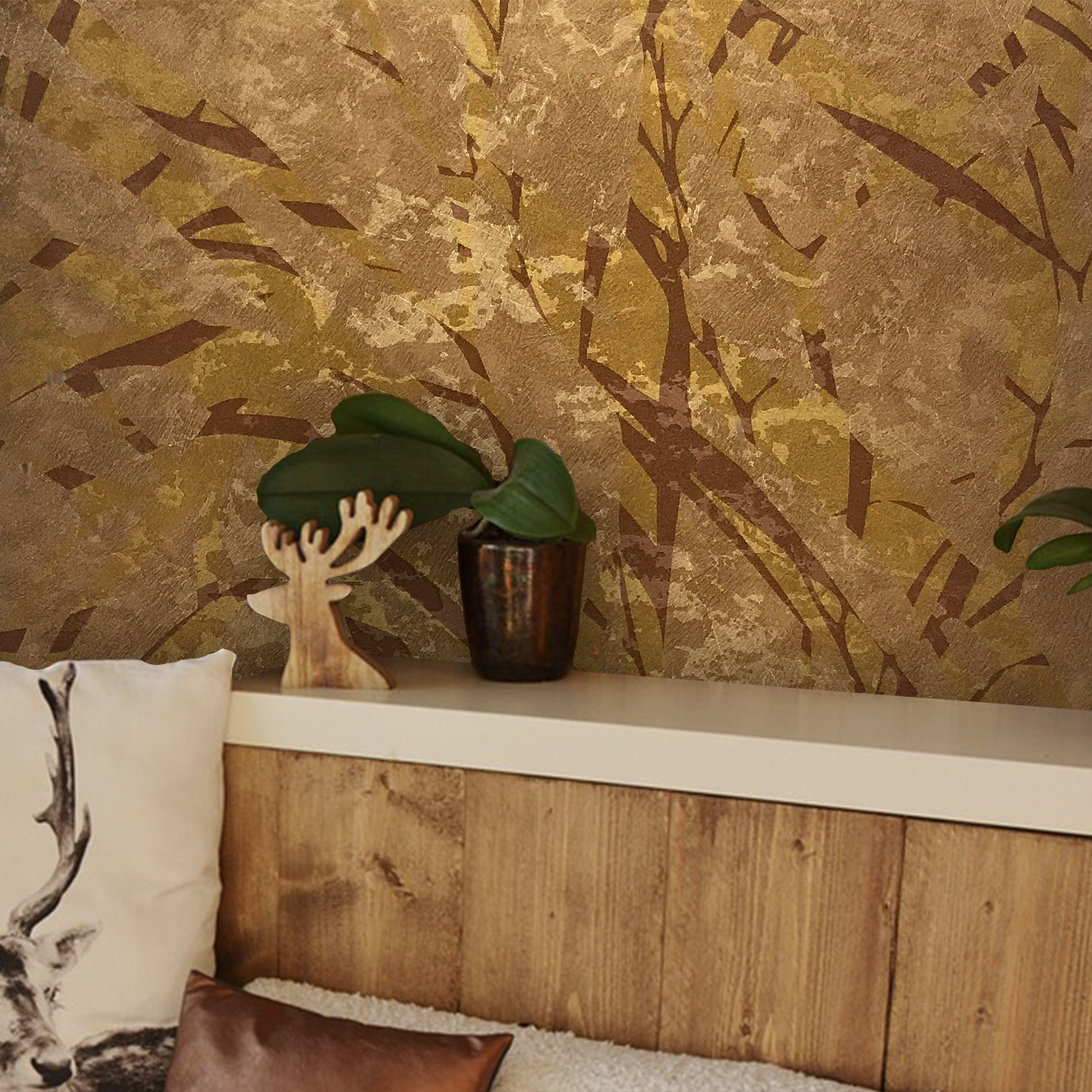 76 sq.ft Made in Italy Portofino wallcoverings rolls modern embossed Vinyl Non-Woven Wallpaper copper bronze gold metallic abstract art textured tropical tree leaves design texture paste the wall only