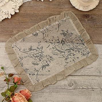 Mantel Mantelito Cubre Bandejas Vintage Rústico Shabby Chic - Volantes / Floral - 30x40 - Beige