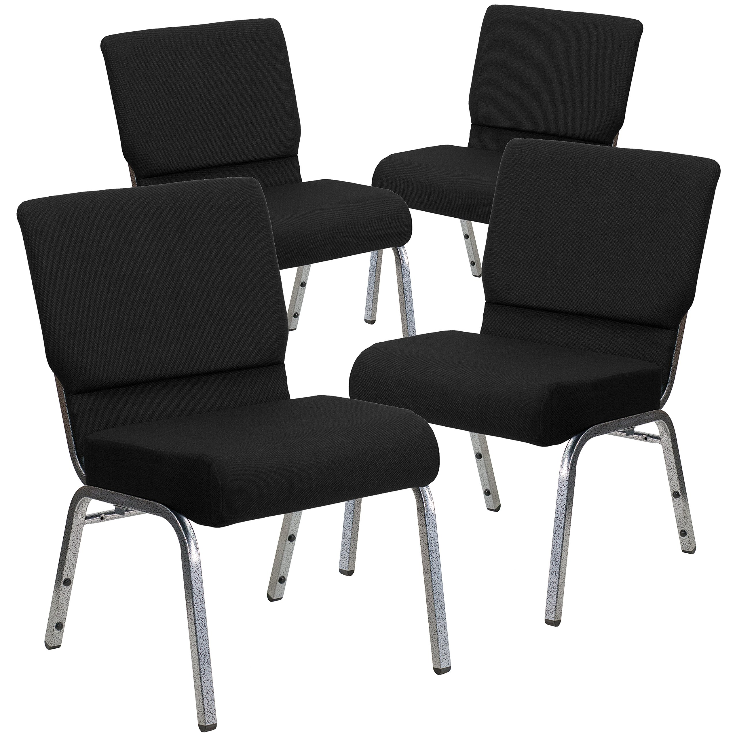 Flash Furniture 4 Pk. HERCULES Series 21''W Stacking Church Chair in Black Fabric - Silver Vein Frame by Flash Furniture