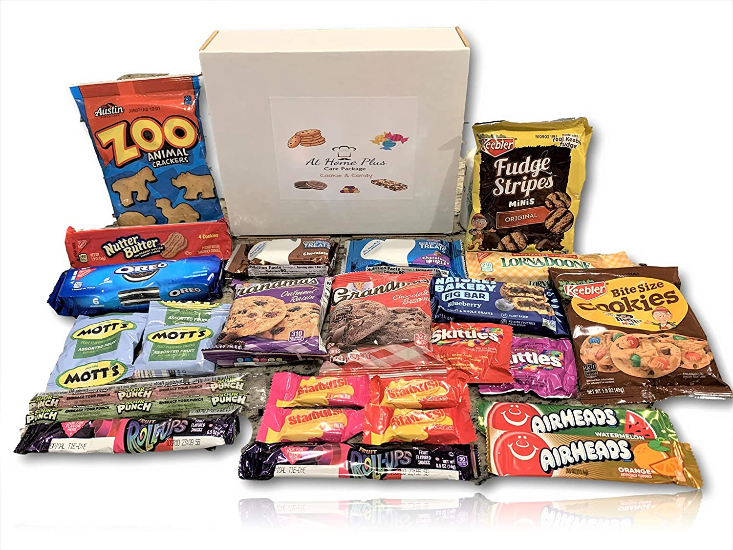 Cookie & Candy Care Package by AtHomePlus (25 Count) --Perfect Gift for College Dorm, Military or Office!!