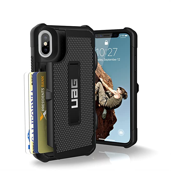 wholesale dealer ae845 d23bf URBAN ARMOR GEAR UAG iPhone Xs/X [5.8-inch Screen] Trooper Feather-Light  Rugged Card Case [Black] Military Drop Tested iPhone Case