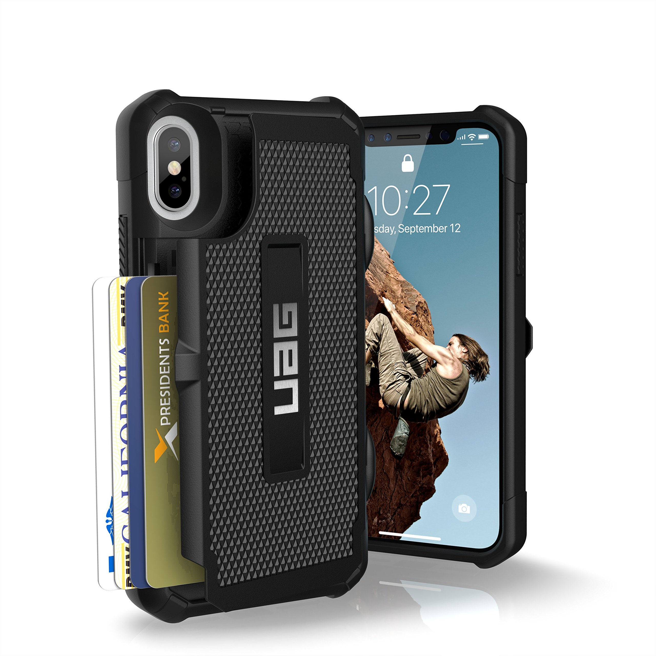URBAN ARMOR GEAR UAG iPhone Xs/X [5.8-inch Screen] Trooper Feather-Light Rugged Card Case [Black] Military Drop Tested iPhone Case