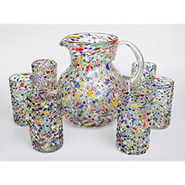 Mexican Blown Glass Pitcher and 6 Drinking Glasses Confetti Rocks