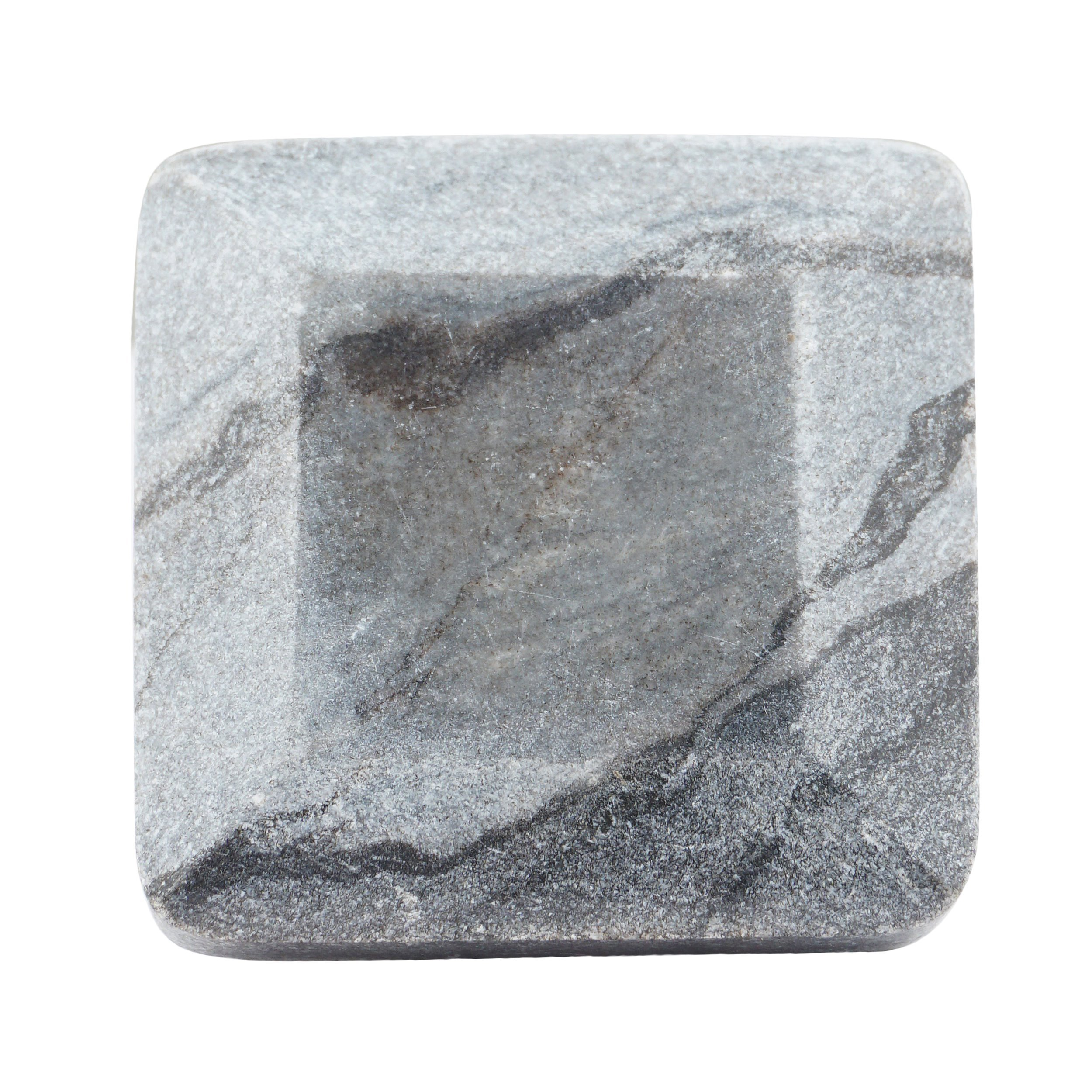 Set of 4 Grey Marble Square Faceted Knobs or Pulls for Cabinets, Dressers and Drawers