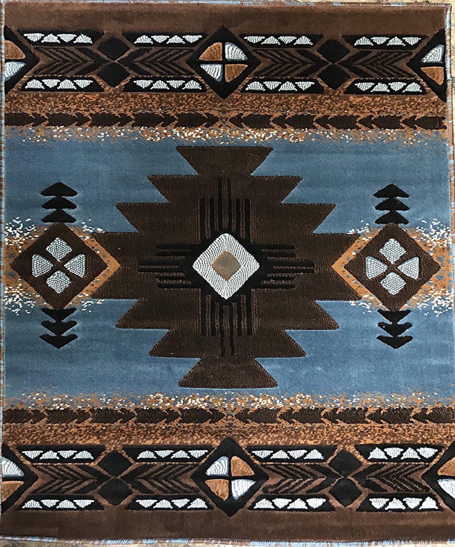 South West Native American Area Rug Blue & Brown Concord Design #C318 (8 Feet X 10 Feet .)