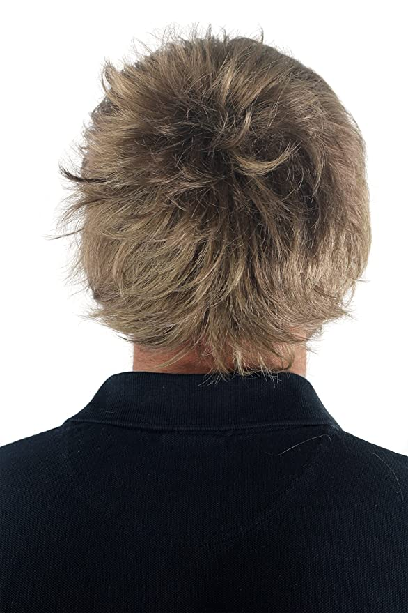 Peluca masculina, para hombre, corto, juvenil, color rubio oscuro, deportivo, estilo bravo erizado, bien estiloso, informal, moderno, cardado, ...