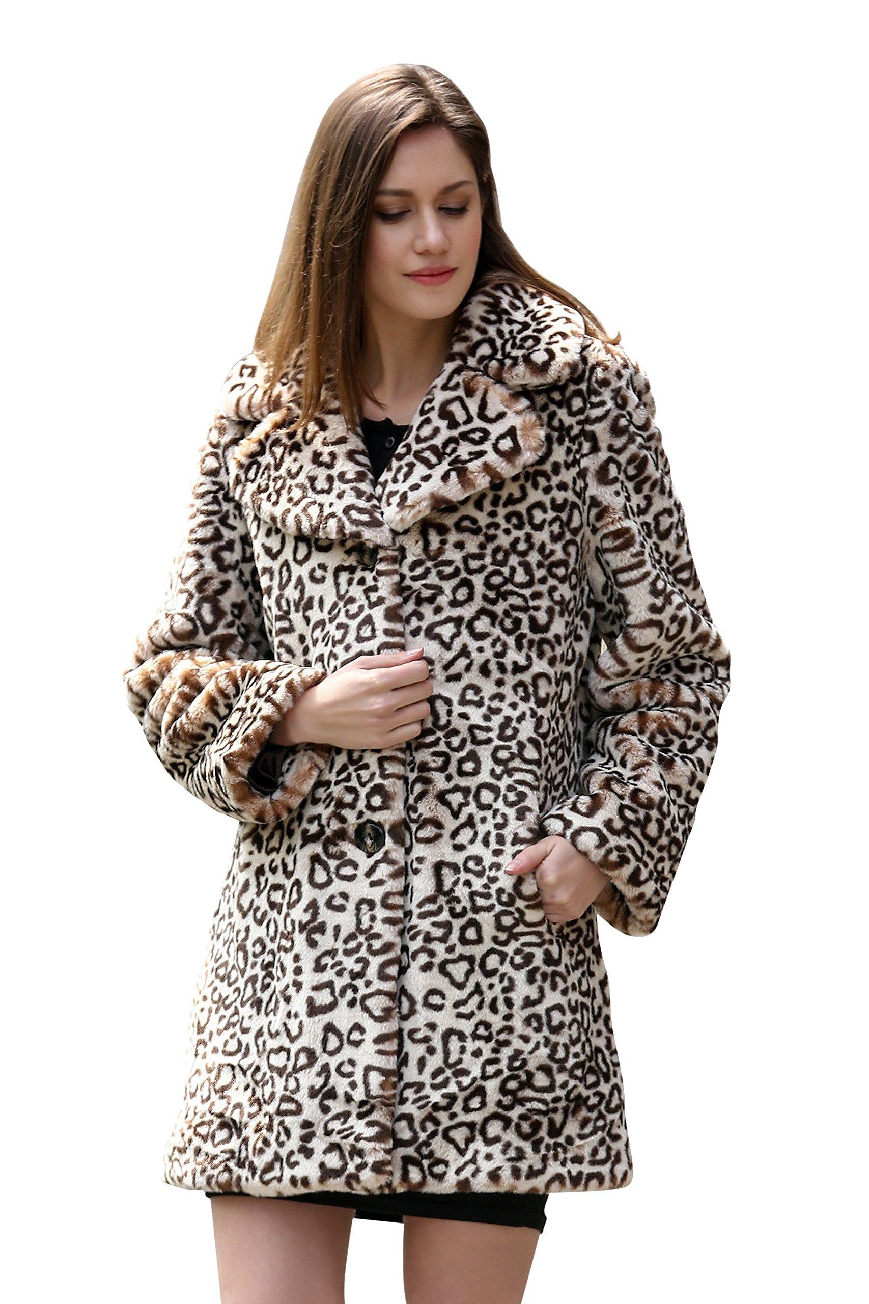 Adelaqueen Women's Elegant Vintage Leopard Print Lapel Faux Fur Coat Mid-Length Size L