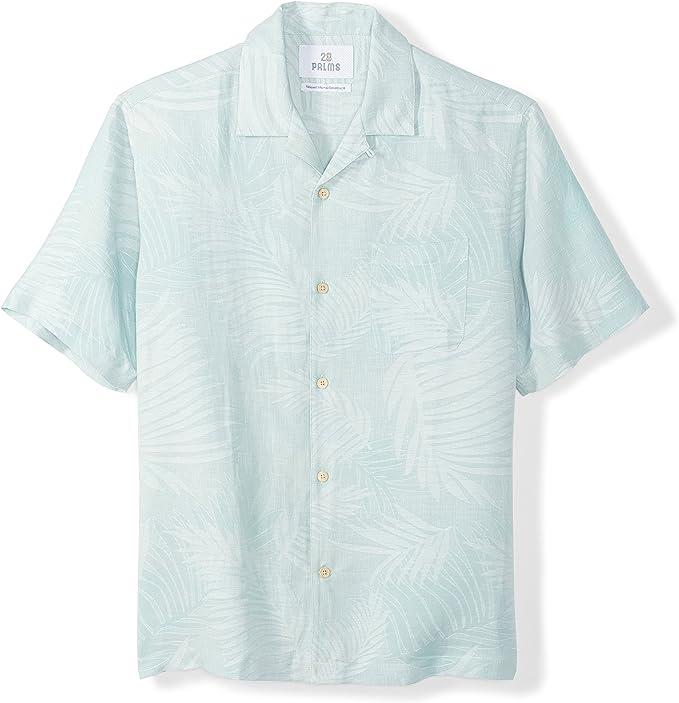 dise/ño jacquard de hojas tropicales Marca 28 Palms Camisa de seda y lino de corte holgado para hombre