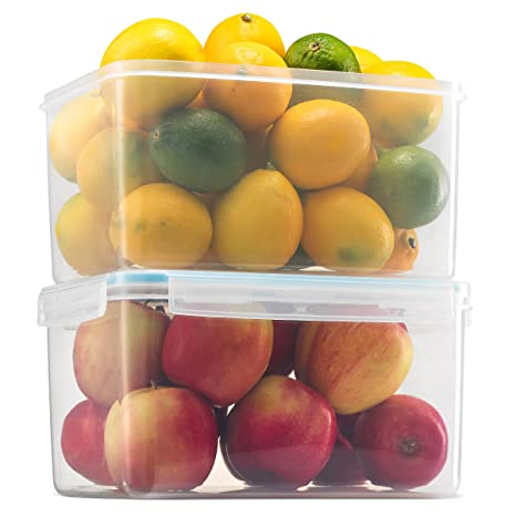 Komax Biokips Large Food Storage Container 155oz  (set of 2) - Airtight,  Leakproof With Locking Lids - BPA Free Plastic - Microwave, Freezer and