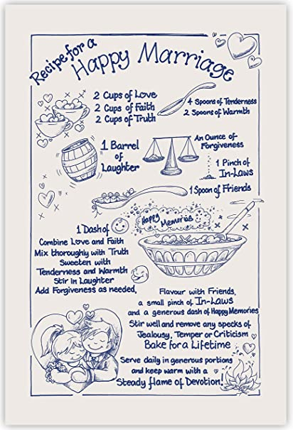 Recipe For A Happy Marriage Tea Towel 100 Cotton Naturalnavy
