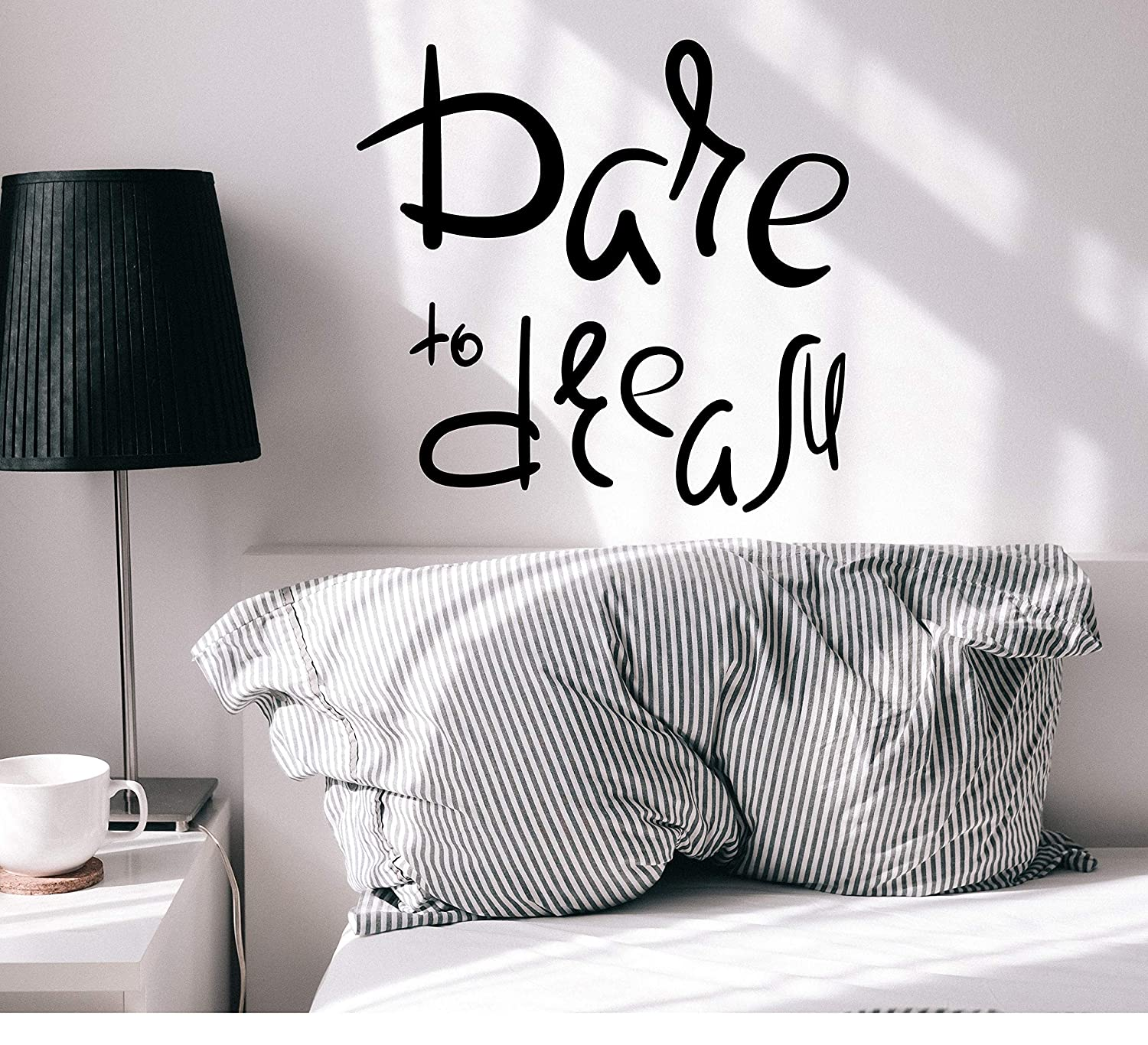 Vinyl Wall Decal Inspirational Phrase Dare to Dream Home Room Decor Stickers Mural 22.5 in x 21.5 in gz283