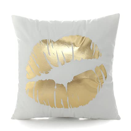 Prime Kingla Home Sofa Cushion Covers Flannel Bronzing Soft Couch Pillow Covers Golden Lip White Throw Pillow Covers 45X45Cm 18X18 Inch Uwap Interior Chair Design Uwaporg