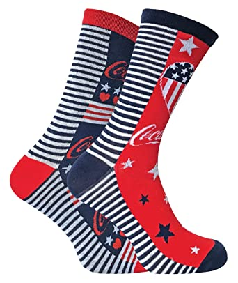 8fc402b84123 Coca Cola - 2 Pairs Ladies Striped Funky Patterned Novelty Cotton Crew Socks  with Words (4-8 uk, CL293): Amazon.co.uk: Clothing