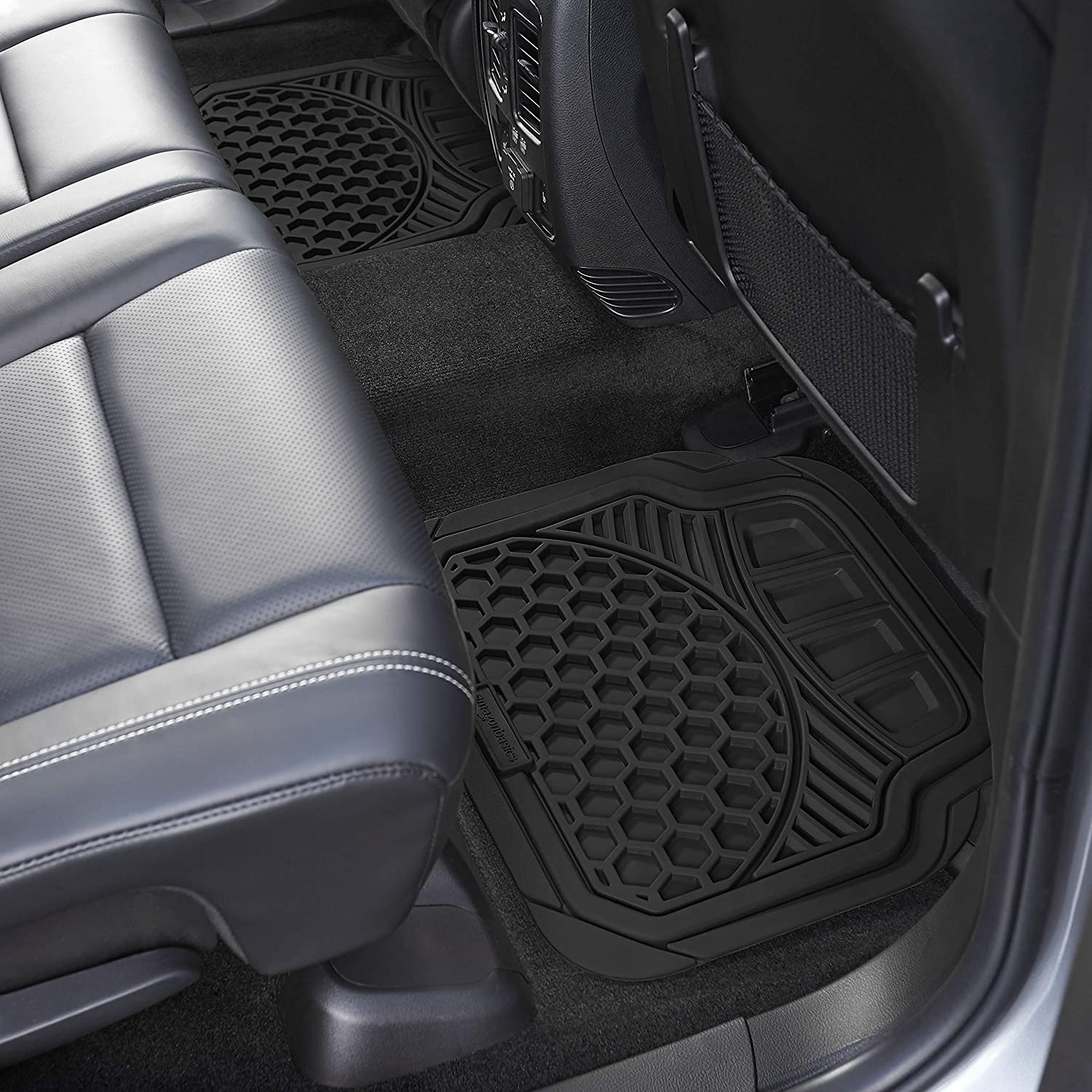 Basics 4 Piece Heavy Duty Car Floor Mat Black
