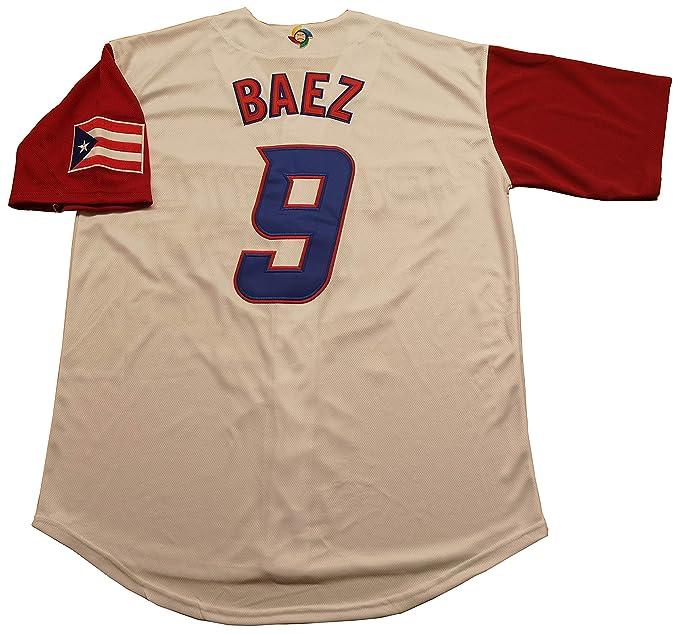 new style 1c6a3 1b289 Kooy Lindor #12 Baez #9 Molina #4 Correa #1 Beltran #15 Puerto Rico World  Classic Baseball Jersey Men Adult