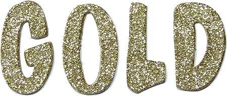 Gold Metallic Glitter HandCut 1.5 Chipboard Letters Alphabet Set Lollipop Font Sickers Lowercase
