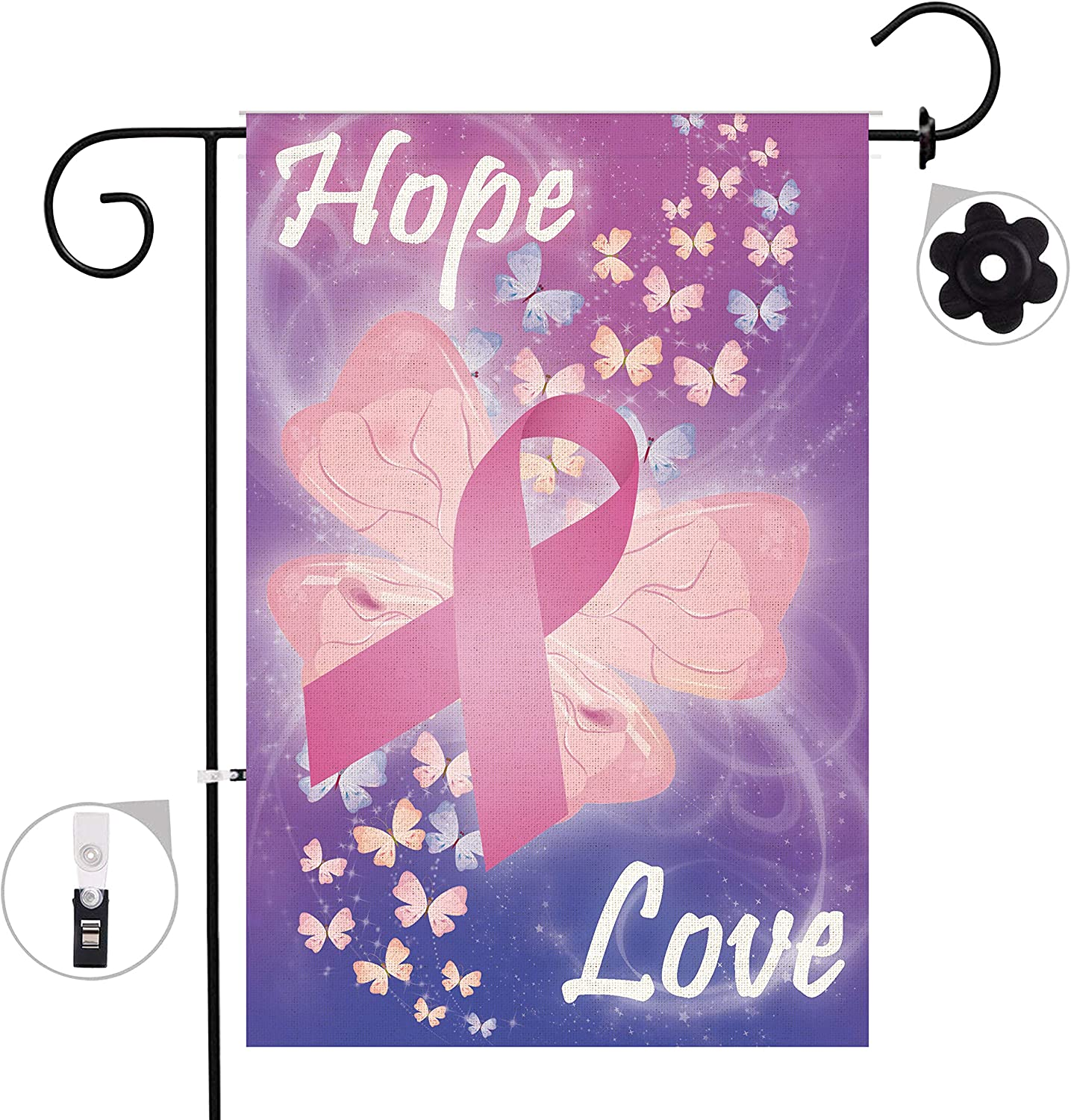 Bonsai Tree Breast Cancer Burlap Garden Flag Banner Decorative Outdoor Double Sided Butterfly Pink Yard Flag 12 x 18
