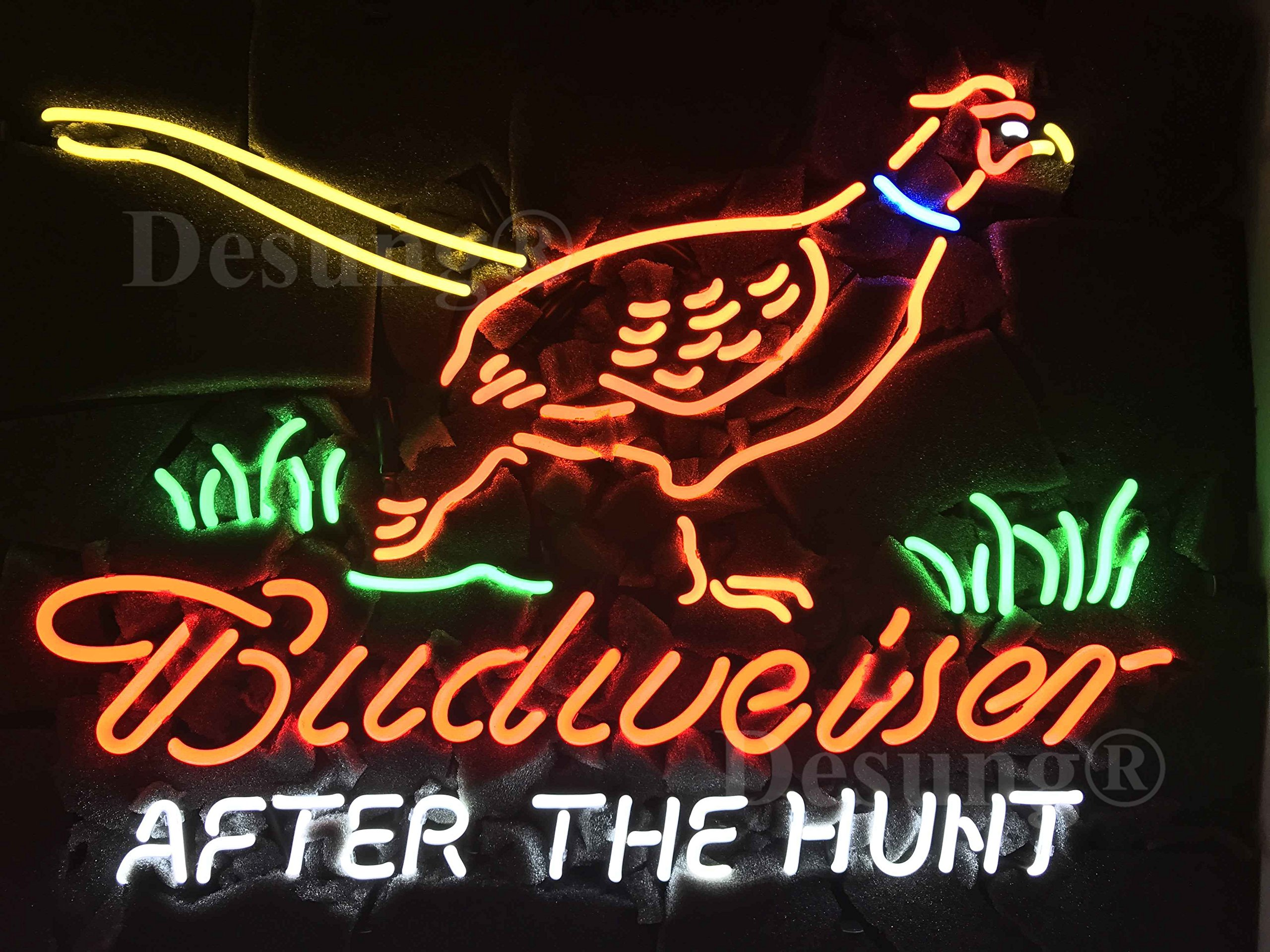 Desung New 24''x20'' Pheasant After The Hunt Hunter Budweisers Neon Sign Man Cave Bar Pub Beer Neon Lamp Real Glass Neon Light DX115