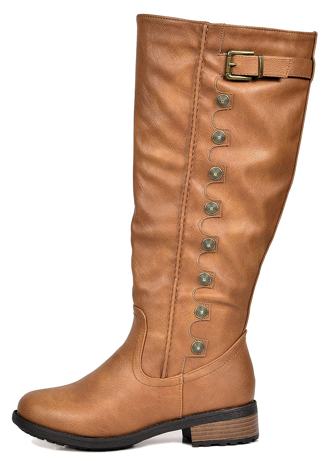 191c90f06f6 DREAM PAIRS Utah Women s Quilted Zipper Double Buckles Accent Round Toe Low  Stacked Heel Riding Knee High Boots (Wide Calf Available)  Amazon.ca  Shoes    ...
