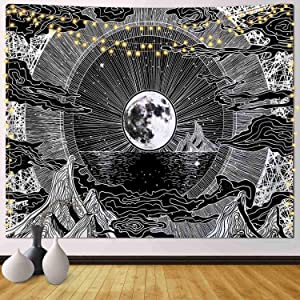 Funeon Moon Tapestry Wall Hanging Black and White Wall Tapestry for Bedroom Cute Room Decor for Teen Girls Aesthetic Sun and Moon Tapestries Small Dark Cool Indie Room Dorm College Tapestry 51x60inch