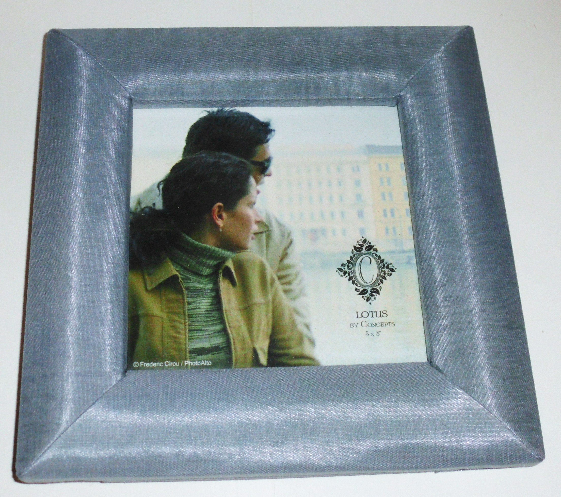Silver Thai Fabric Picture Frame - 5'' x 5'' - Lotus by Concepts by Lotus / Concepts