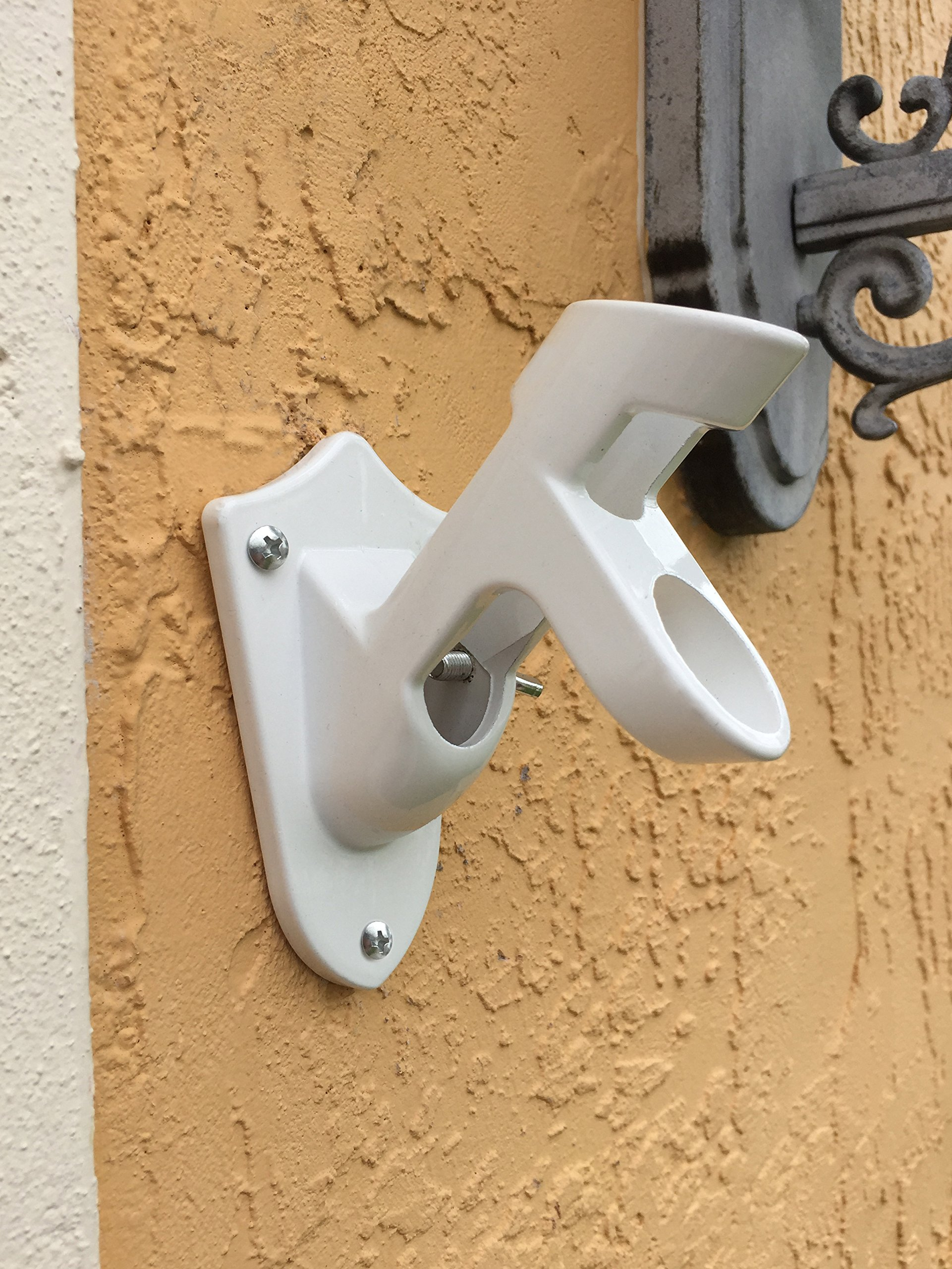 Green Grove Products Aluminum Flag Pole Bracket Mount 2 Positions - White by Green Grove Products (Image #4)