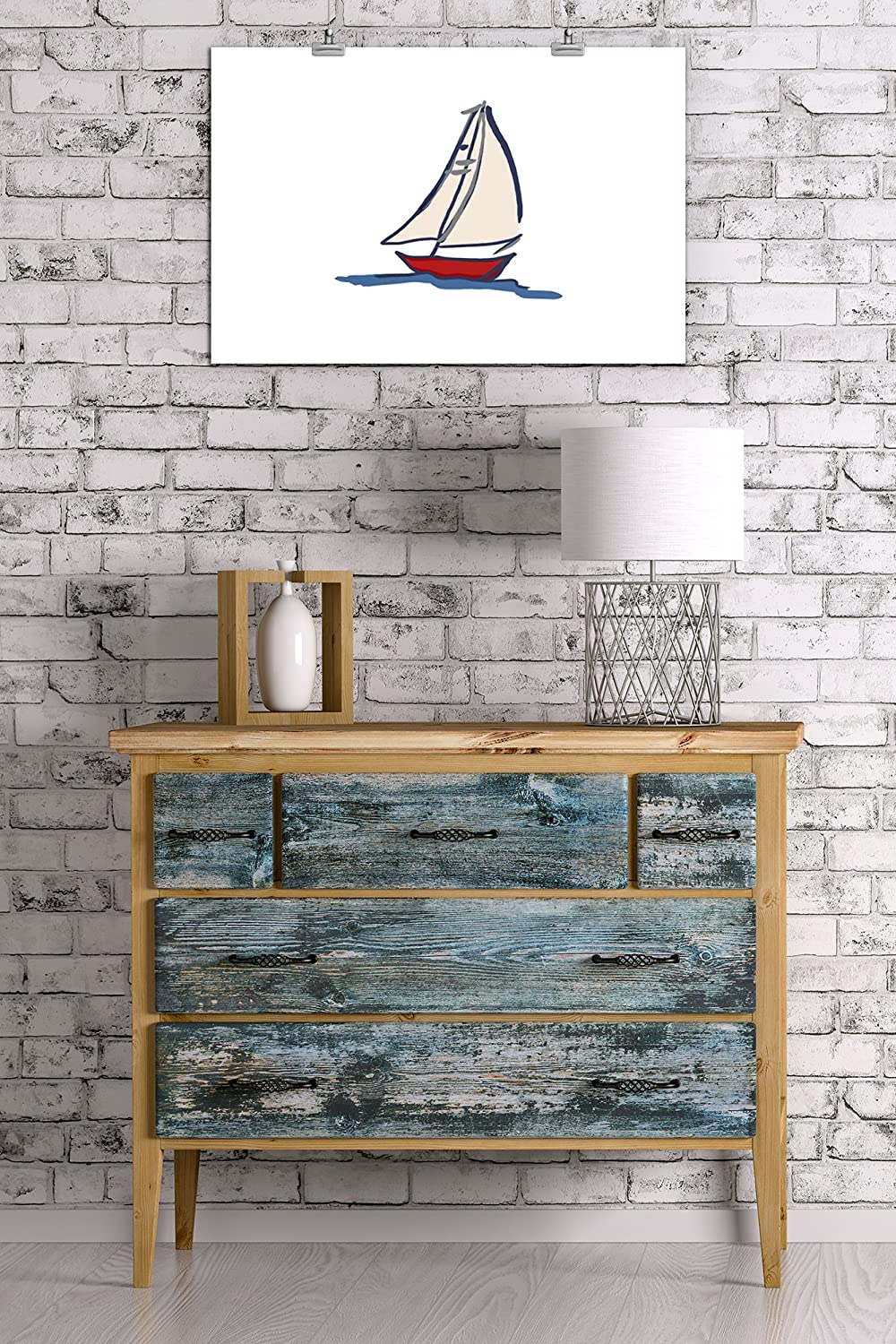 Sailboat 36x54 Giclee Gallery Print, Wall Decor Travel Poster Icon