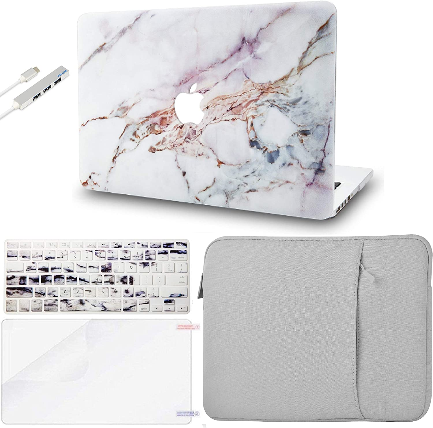 """KECC Laptop Case for Old MacBook Pro 13"""" Retina (2015-) w/Keyboard Cover + Sleeve + Screen Protector + USB (5 in 1 Bundle) Plastic Hard Shell Case A1502/A1425 (White Marble 4)"""
