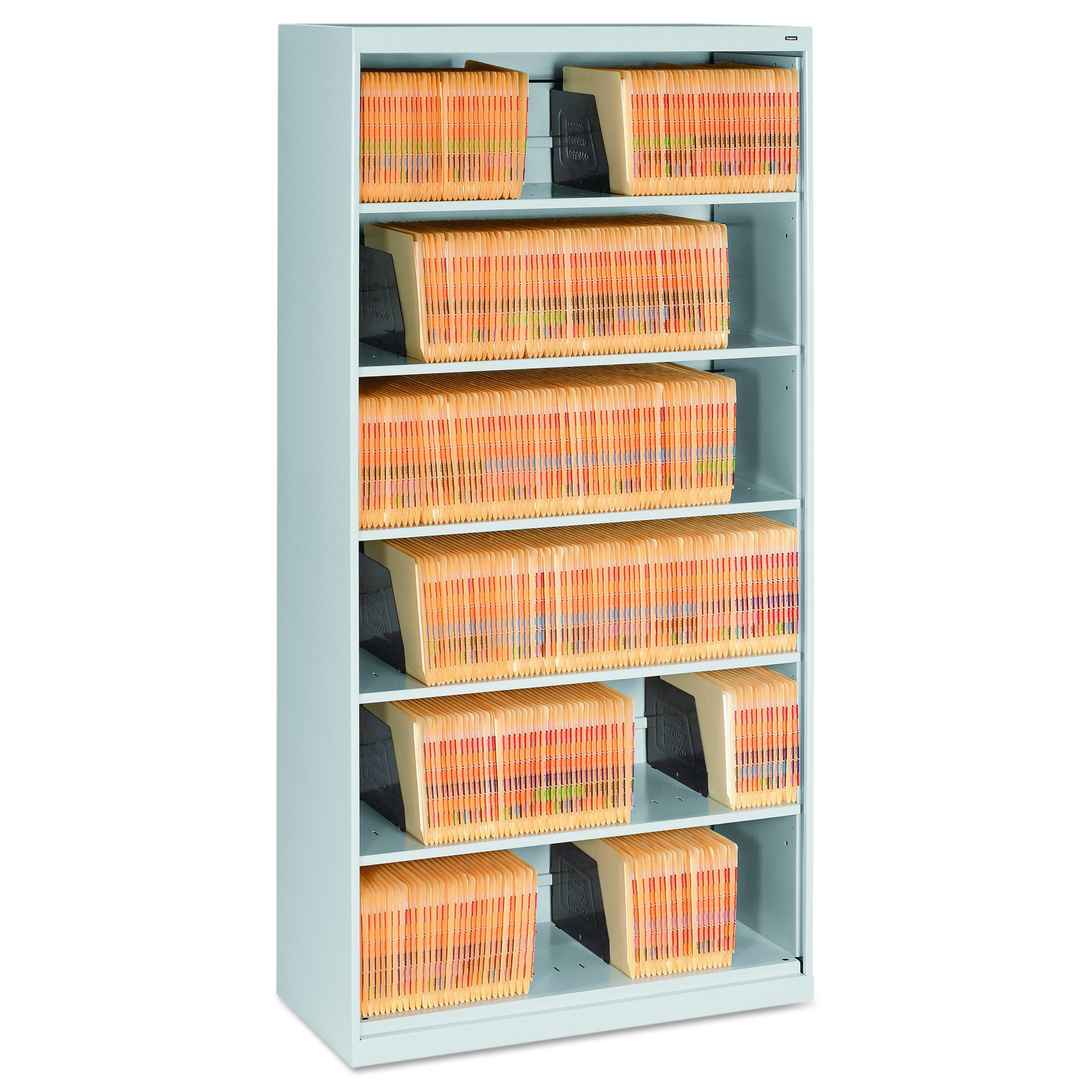 Tennsco FS360LGY Open Fixed Shelf Lateral File, 36w x 16 1/2d x 75 1/4, Light Gray
