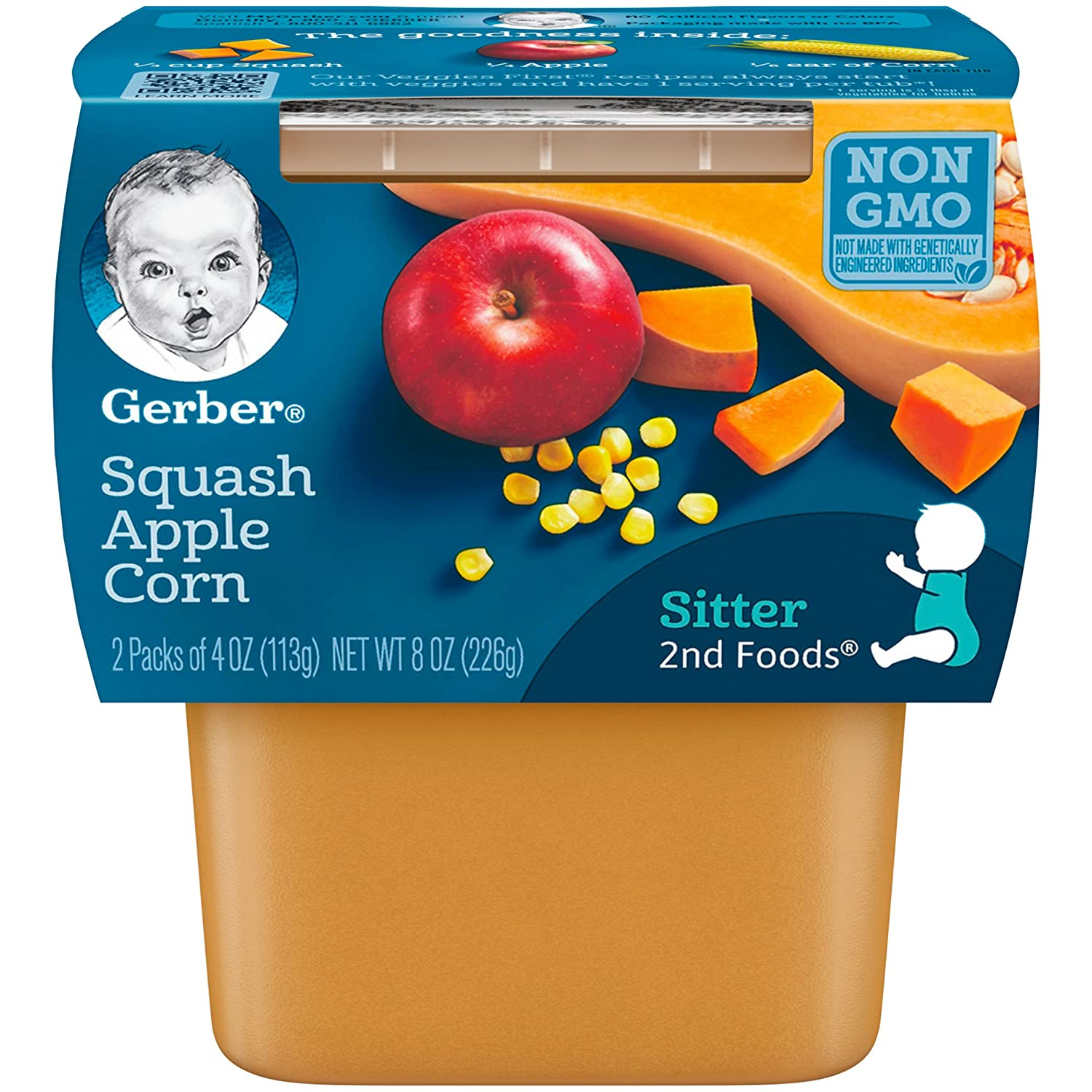 Gerber 2nd Foods Squash, Apple & Corn Pureed Baby Food, 4 Ounce Tubs, 2 Count (Pack of 8)