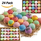 Gift Set of 24 Nurture Me Organic Bath Bombs, Large Bath Fizzies All Natural with Organic Shea & Cocoa Butter