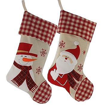 wewill classic christmas stockings set of 2 santa snowman xmas character 17 inch - Amazon Christmas Stockings