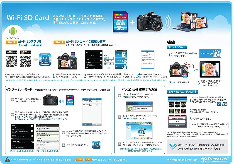 Tarjeta de memoria Flash Wi-Fi de 32 GB de Transcend (SDHC, Clase ...