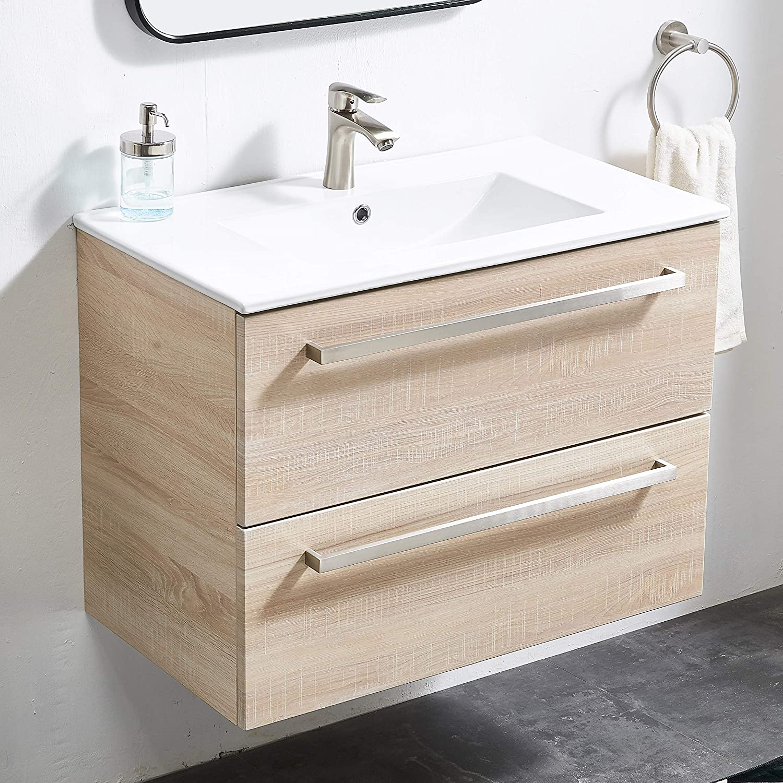 ATUM HOME Meuble de salle de bain avec lavabo en bois et 2 portes battantes 600 mm