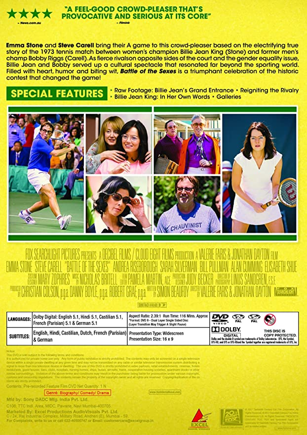 Amazon in: Buy Battle of the Sexes DVD, Blu-ray Online at Best