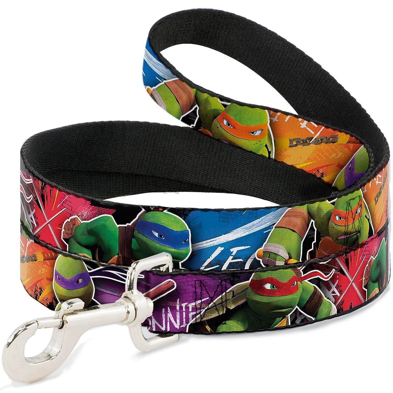 Buckle-Down New Series Teenage Mutant Ninja Turtles Character Action Pose Close Up Multi color  Dog Leash, 6'