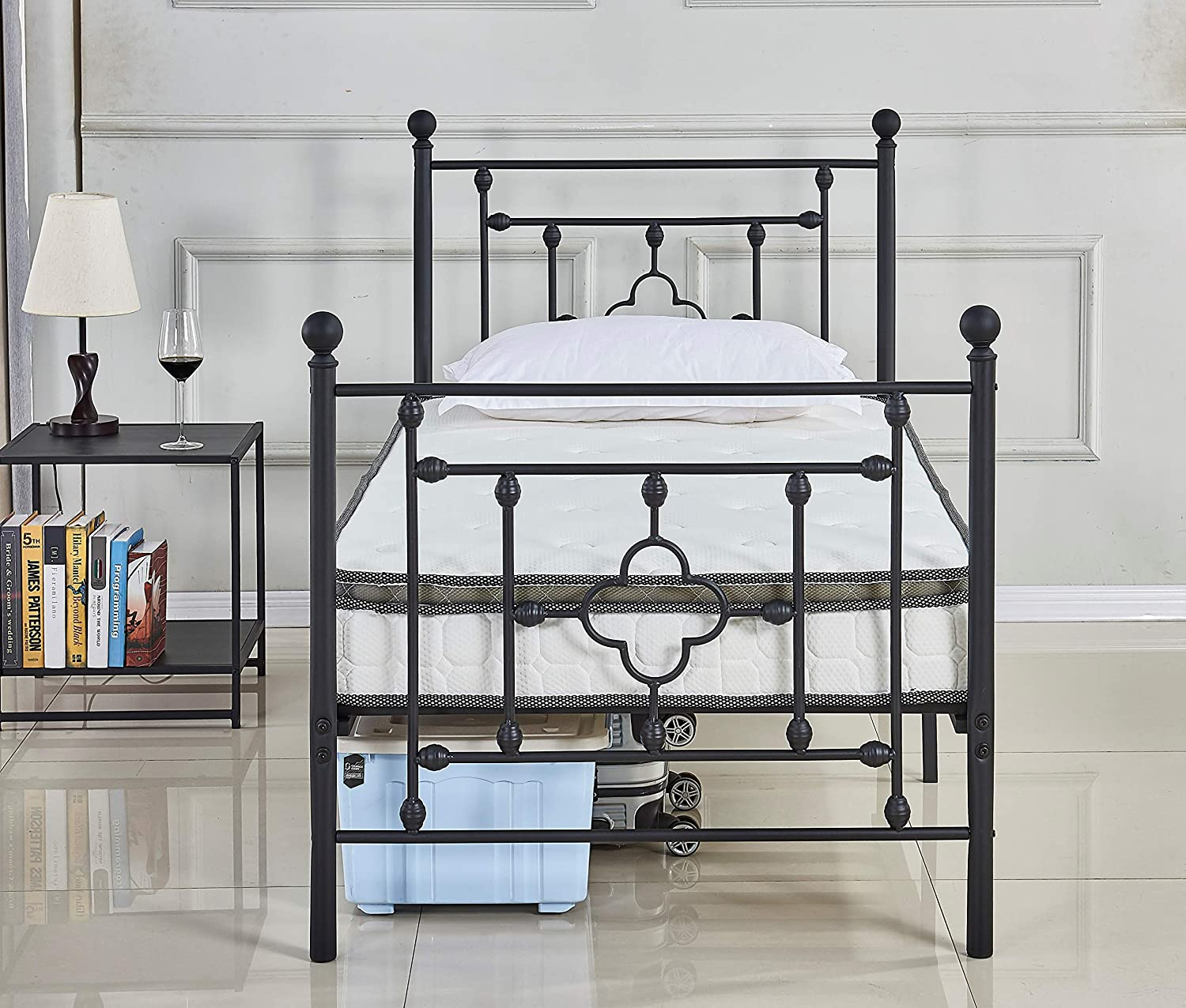 Alooter Twin Bed Frame, Platform Metal Bed Frame Foundation Twin Size with Headboard and Footboard DS-08 Twin