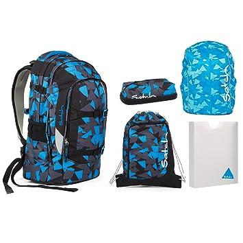 ae138c7cb75c4 Satch Pack - Set 5 tlg. - Blue Triangle - Schulrucksack + Sportbeutel +  Penbox