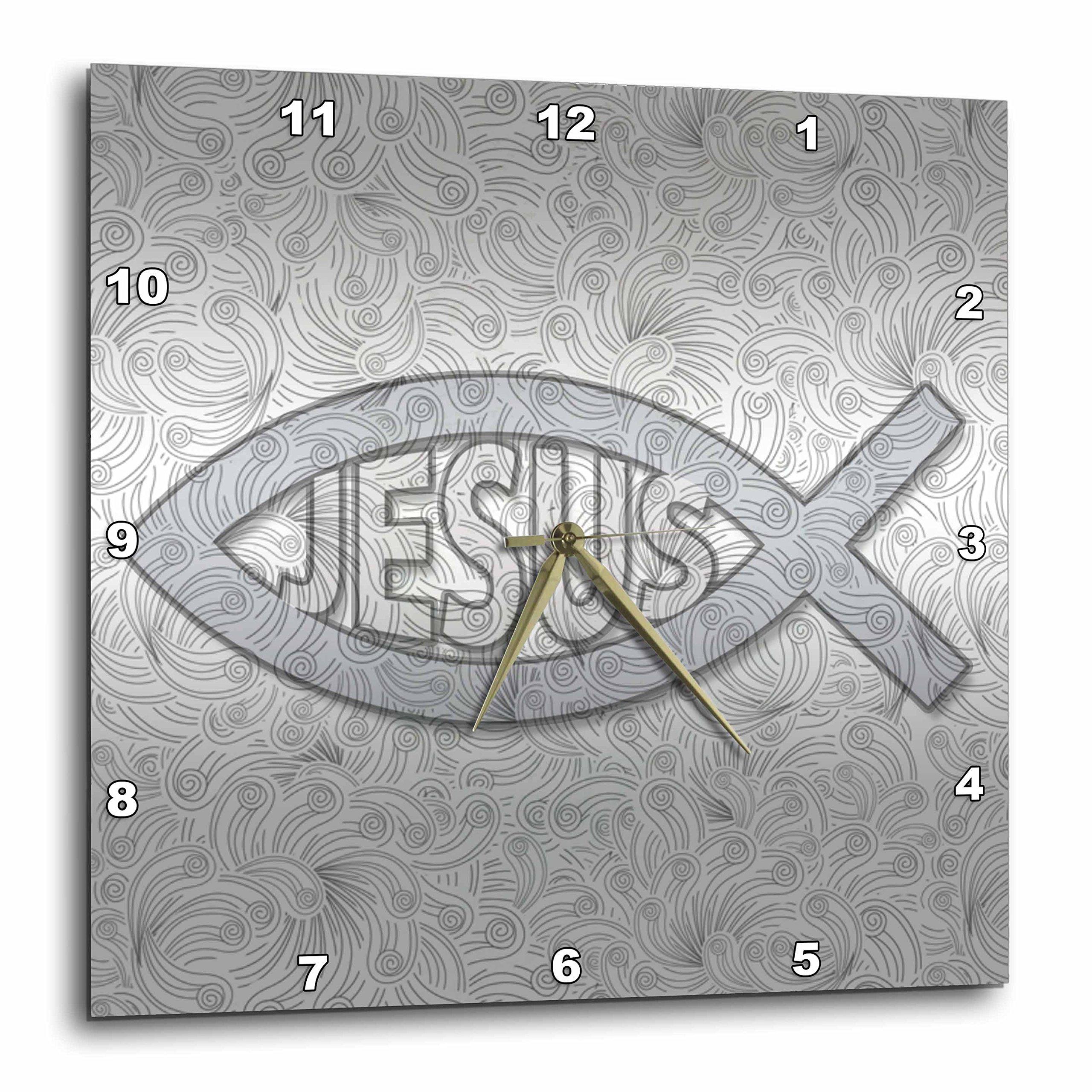 3dRose Doreen Erhardt Inspirational - Christian Fish Symbol Jesus Silver Hues for Religious Faith - 15x15 Wall Clock (dpp_264282_3)