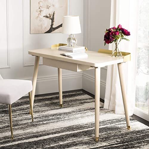 Safavieh Home Office Parker Modern White Washed and Gold 1-drawer Desk