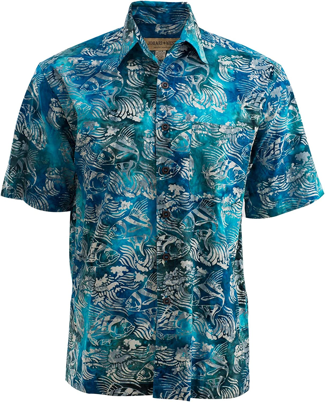 Johari West Ripple Rosso Tropical Hawaiian Cotton Batik Shirt