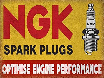 NGK SPARK PLUGS SIGN GARAGE RETRO VINTAGE METAL TIN WALL PLAQUE SIGN  NOVELTY GIFT