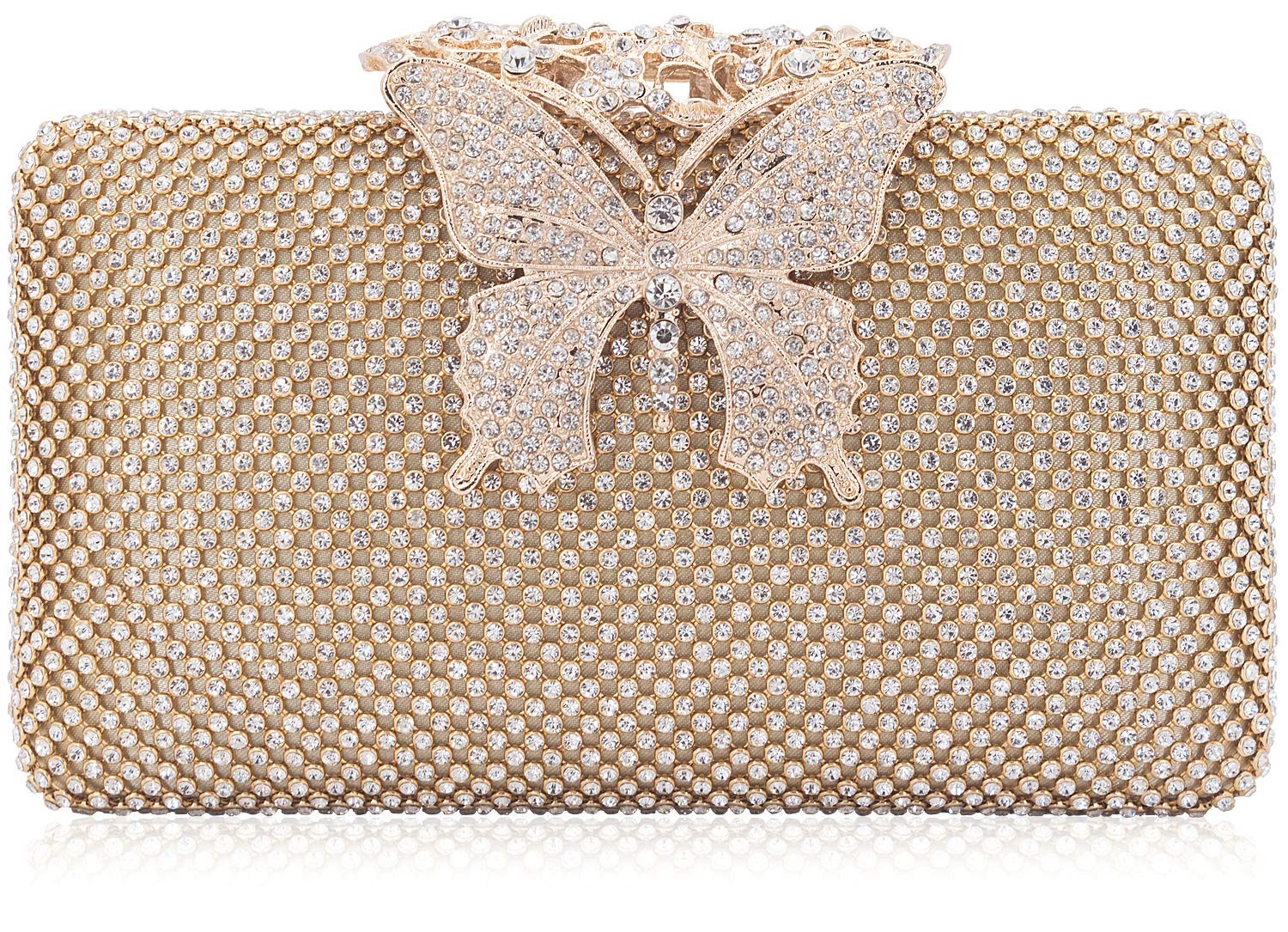 Dexmay Rhinestone Crystal Clutch Purse Butterfly Clasp Women Evening Bag for Formal Party Gold