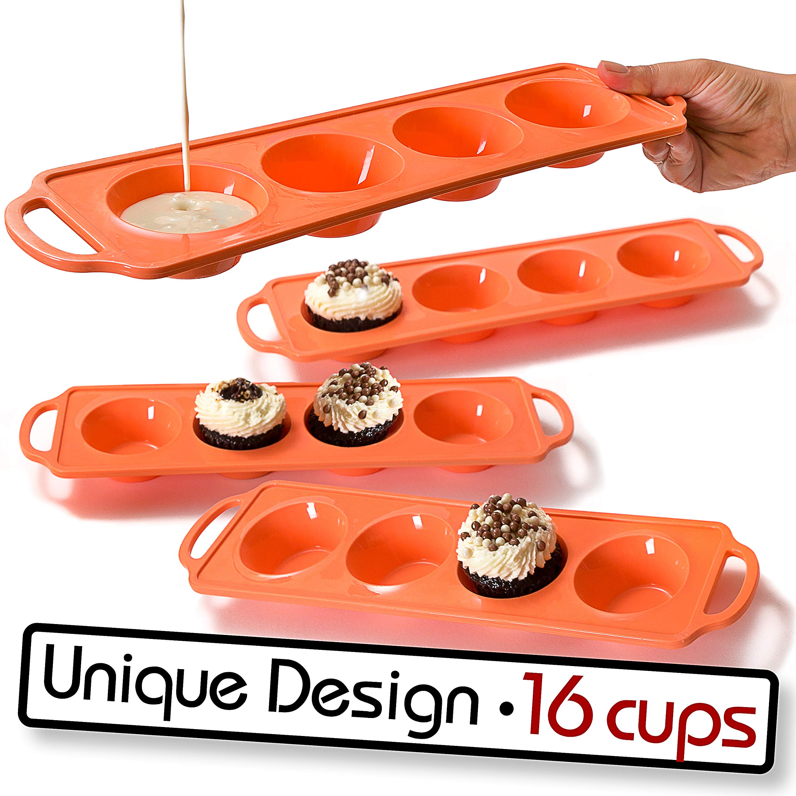 Silicone Muffin Pan & Sturdy Handle|Non-Stick 4 Cupcake Baking Tray|LFGB Approved|Dishwasher Safe(4)