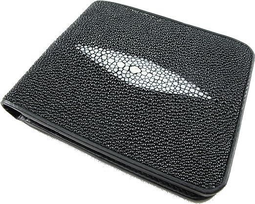 PELGIO Real Genuine Stingray Skin Leather Men Bifold Credit Card Wallet Black