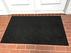 "Front Door Mat Large Outdoor Indoor Entrance Doormat Waterproof Low Profile Entrance Rug Patio Grass Snow Scraper Rubber Back - Durable and Easy to Clean (36"" x 60"", Charcoal)"