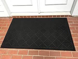 "Heavy Duty Front Door Mat Large Outdoor Indoor Entrance Doormat Waterproof Low Profile Entrance Rug Patio Grass Snow Scraper Rubber Back - Durable and Easy to Clean (36"" x 60"", Charcoal)"